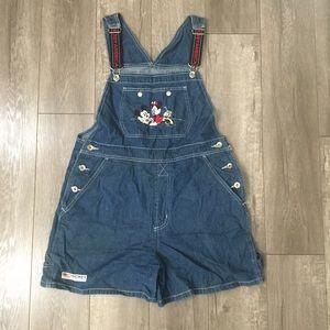 90's Disney mickey & Minnie shorts overalls M